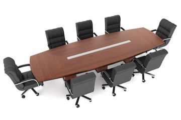 3d rendering conference table and office chairs
