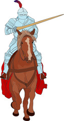 In de dag Ridders vector - Knight with pike on horse isolated on background