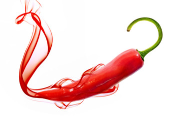 red hot chili pepper with smoke on white