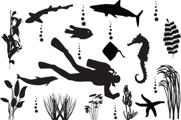sea seamless with fishes silhouette vector
