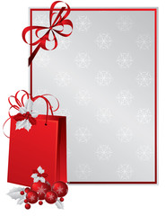 Red paper bag decorated with holly berry