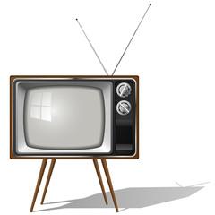 Old-fashioned four legged TV set isolated