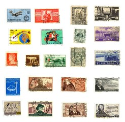 vintage, bunch of old italian stamps