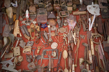 Old-fashioned tools for sale on flea market.