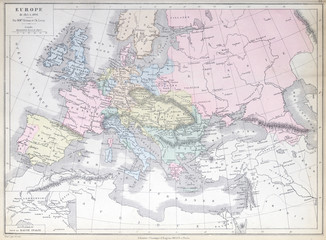 Old map of  Europe 1815 - 1866. Published in 1883