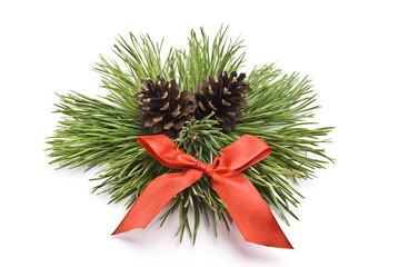Decorated christmas-pine branch with red bow