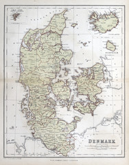 Old map of  Denmark, 1870