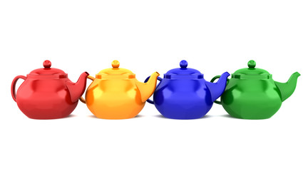 four color teapots isolated on white background