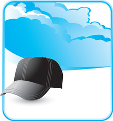 Black baseball cap on cloud background