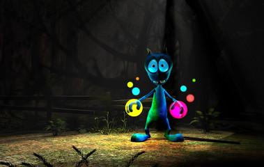 colorful magic alien