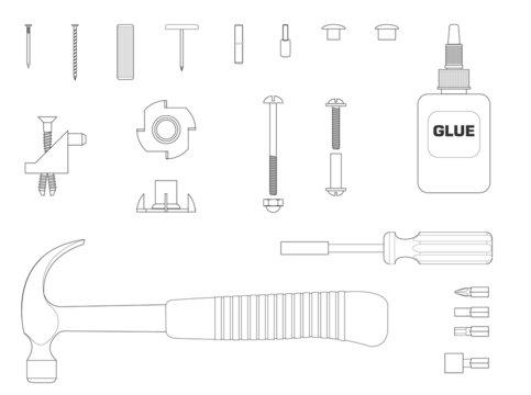 Black and white line illustration of furniture assembly kit