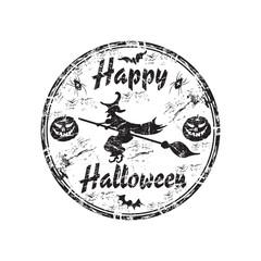 Happy Halloween grunge rubber stamp
