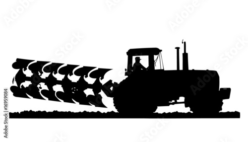 """tractor & plow silhouette"" Stock image and royalty-free ..."