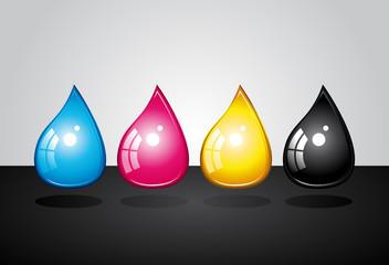 CMJN ink droplets