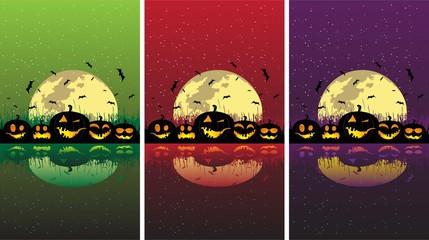 Halloween pumpkins under the moon