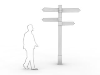 Mann silhouette geht am Richtungsweiser