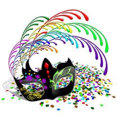 Maschera e Coriandoli-Multicolored Mask-Masque et Confettis