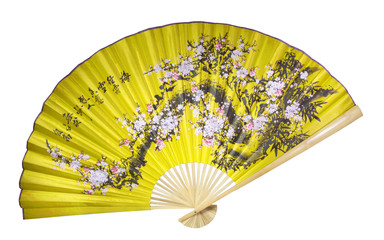 Yellow Chinese fan on the white background. (isolated)