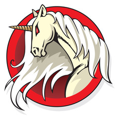 Stylized Unicorn's head in the round frame, vector illustration