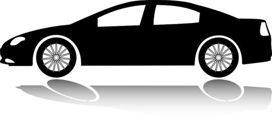 American sedan silhouette with shadow. Vector design element.