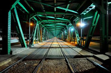Gdanski Bridge by night, Warsaw, Poland