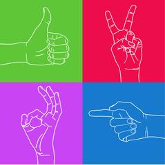 Color set of hand gestures.