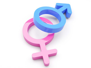 3d Render Of Male And Female Symbols - More in my portfolio!.