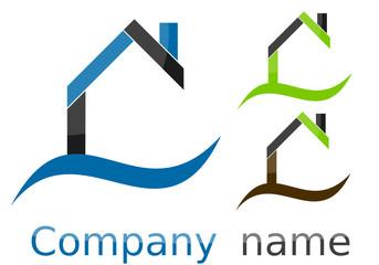 Logo maison vague bleu vert marron gris