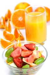 Orange Juice and Orange with Strawberry Salad