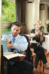 Businessman waiting in cafe