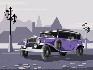 Illustration of purple retro car