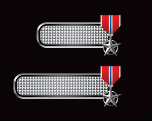Military medal on checkered tabs