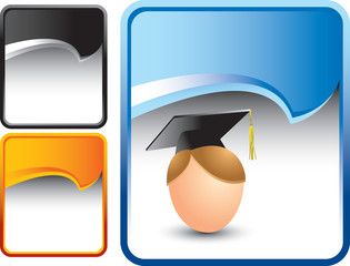 Graduate on multicolored rip curl backgrounds