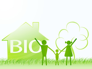 bio family with house, tree in shapes. ecology theme concept