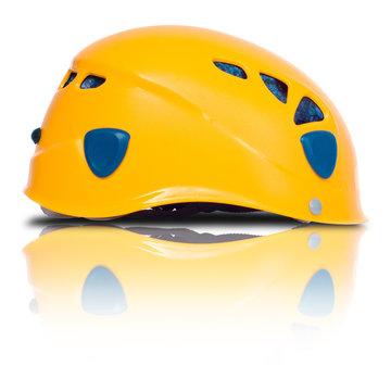 left side view of orange climbing helmet