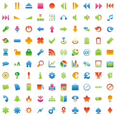 one hundred fully editable glossy vector web icons