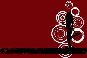 Image of sexy grunge female on red background