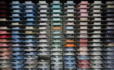 Shirt shelfs, fashion colored shirts