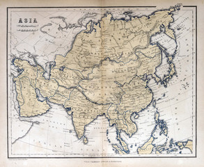 Old map of Asia, 1870