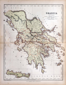 Old map of Greece, 1870