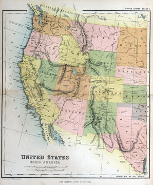 Old map of America, 1870