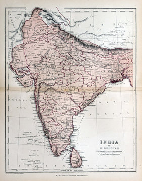 Old map of India, 1870