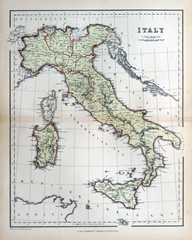 Old map of Italy, 1870