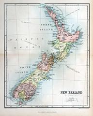 Aluminium Prints New Zealand Old map of New Zealand, 1870