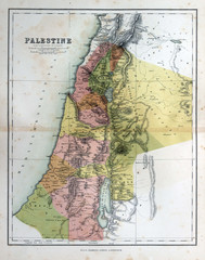 Old map of Palestine, Israel, 1870