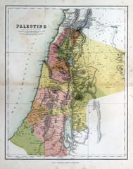 Old map of Palestine, Israel, 1870