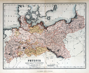 Old map of Prussia, Germany, 1870