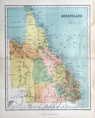 Old map of Queensland, Australia, 1870