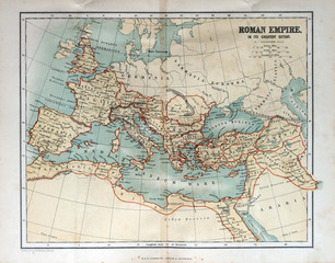 Fototapete - Old map of the Roman Empire, 1870