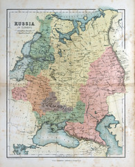 Old map of Russia, 1870